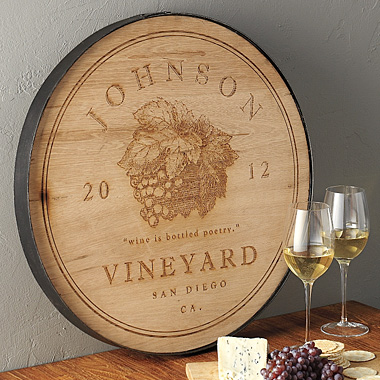 oak barrel wine sign